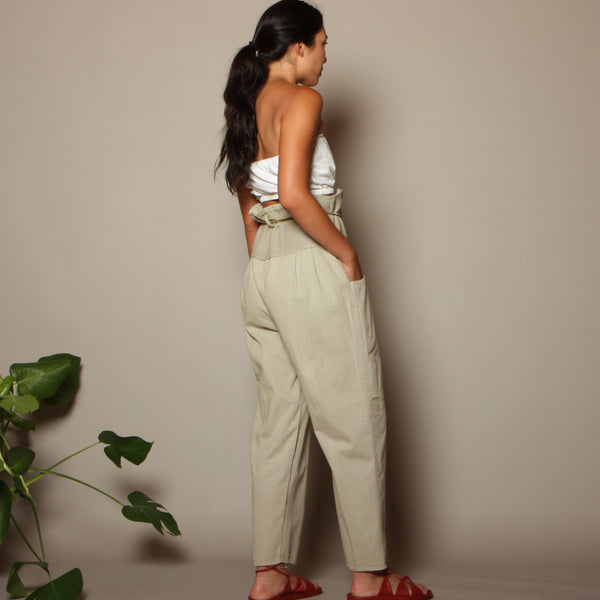 Vintage 80's Woven Cotton + Mesh Ultra High Waist Pants