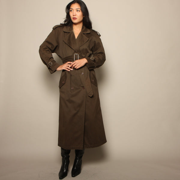 Vintage 1980's OMO Norma Kamali Belted Cotton Trench