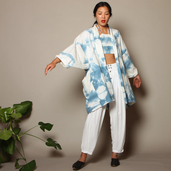 Shibori Tie Dyed Cotton Cocoon Jacket