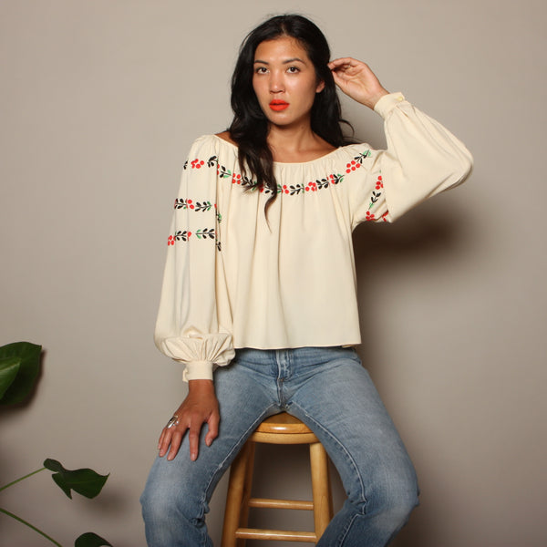 Vintage 30's Embroidered Silk Trapeze Poet Blouse