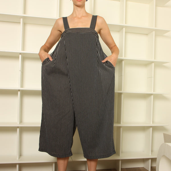 Vintage Striped Wide Leg Folded Jumpsuit
