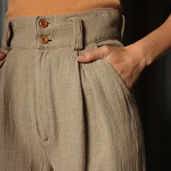 Vintage 90's Nuetral Woven Pleat Trousers