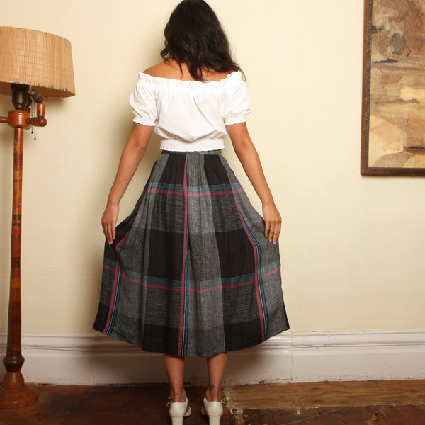 Vintage 80's Perry Ellis Linen Grid Skirt
