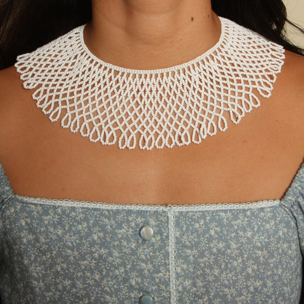 Vintage Beaded Lace Collar Necklace