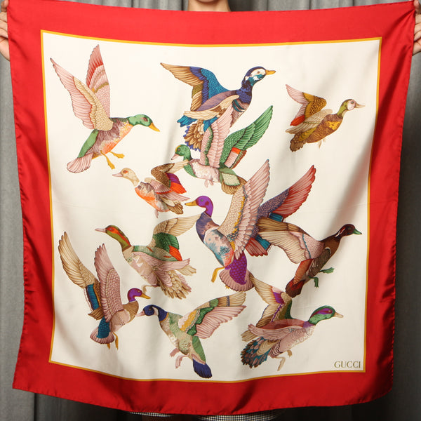 Vintage 90's Gucci Ducks in Flight Silk Scarf