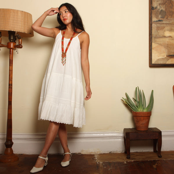 Camisole Trapeze Dress - Edwardian Eyelet Cotton