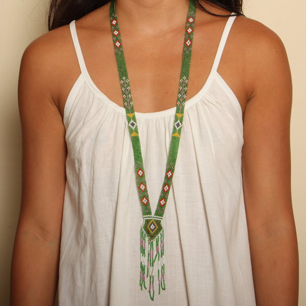 Antique 1920's Basil Loom Beaded Satoir Necklace