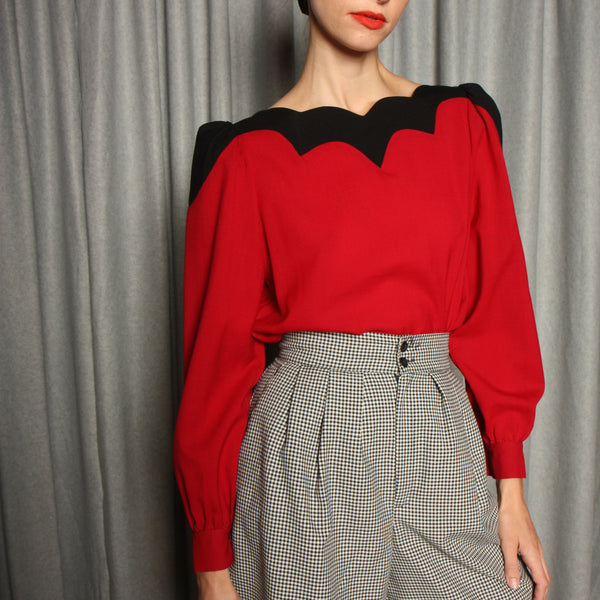 Vintage Scalloped Wool Puff Sleeve Blouse