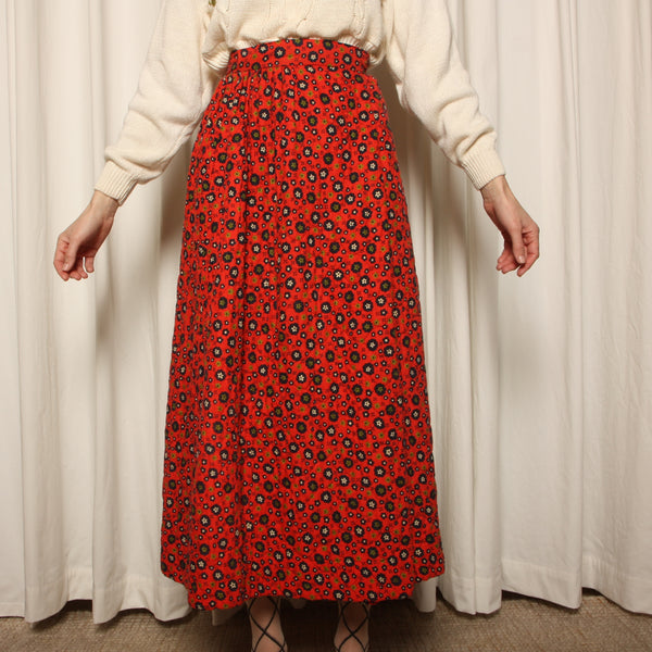 Vintage 60's Softest Quilted Cotton Maxi Wrap Skirt