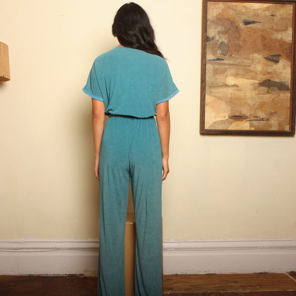 Vintage 70's Colorblock Terry Drape Jumpsuit