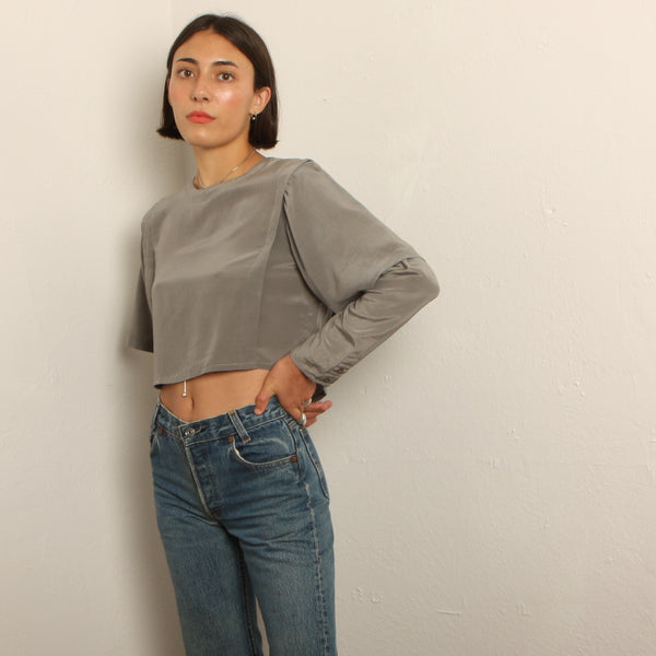 Vintage 80's Gray Layered Silk Crop Blouse