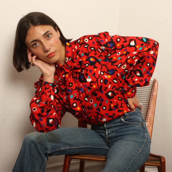 Vintage 80's Jean Louise Scherrer Graphic Silk Blouse