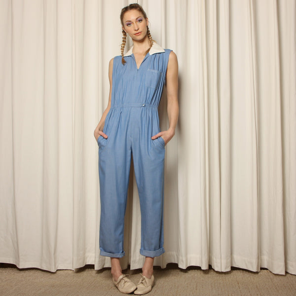 Vintage 30's/40's Handmade Cotton Workwear Jumpsuit