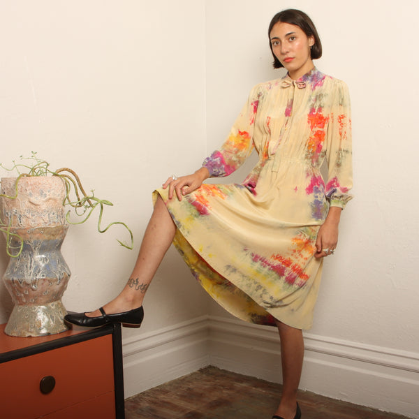 Vintage 70's Ecru Silk Hand Dyed Rainbows Dress