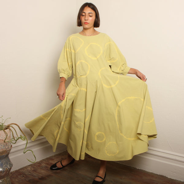 Vintage 80's Honeydew Cotton Circles Dress