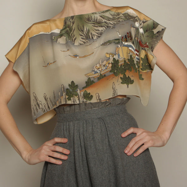 Vintage Printed Silk Scarf Top
