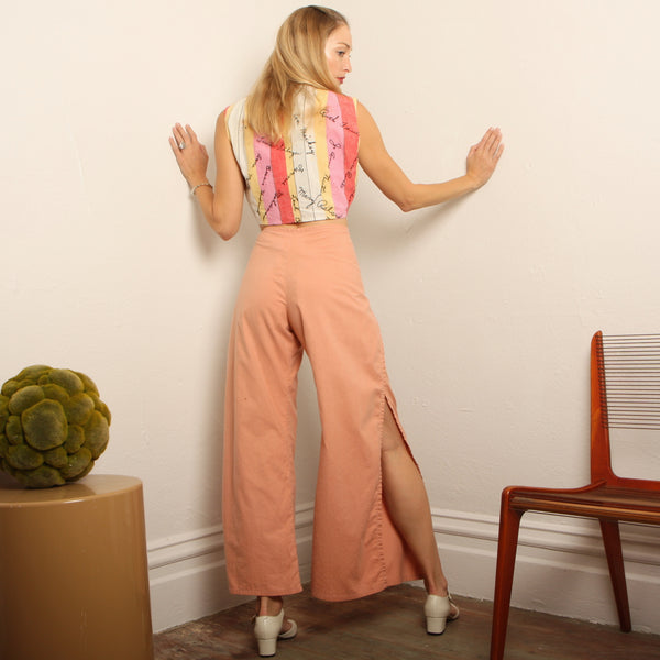 Vintage 70s Cantaloupe Cotton Wrap Pants