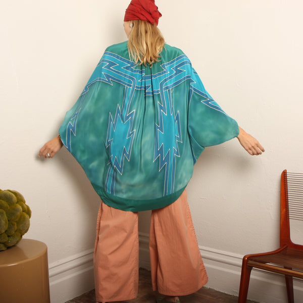 Vintage 70's Hand Painted Silk Cocoon Jacket