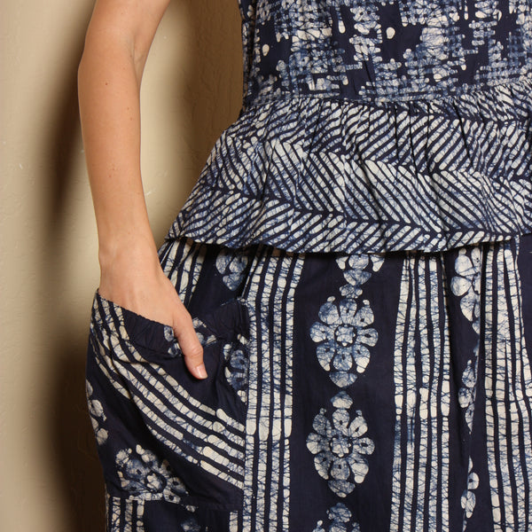 Vintage Hand Dyed Indigo Shibori Cotton Dress