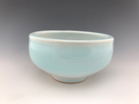 Turquoise and White Ceramic Pot 21d
