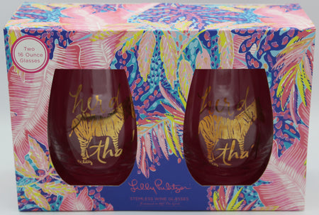 Lilly Pulitzer Stemless Wine Glasses - Off the Grid