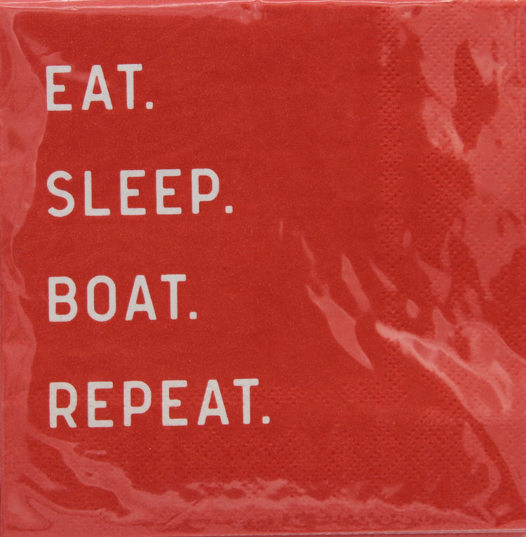 Eat. Sleep. Boat. Repeat. Cocktail Napkins