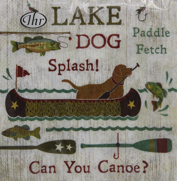 Canoe and Dog Cocktail Napkins