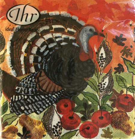 Watercolor Turkey Thanksgiving Cocktail Napkins