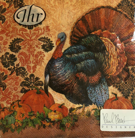 Damask Turkey Luncheon Napkins