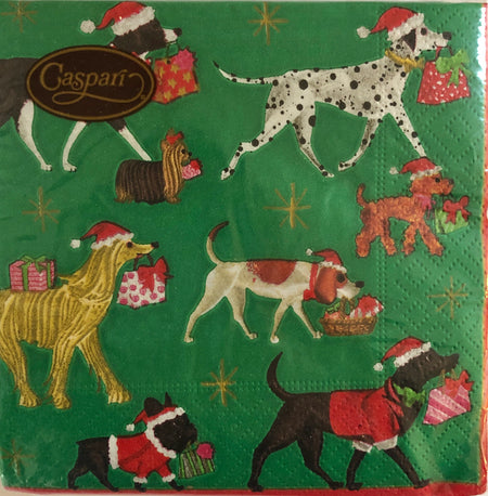 Green Doggie Christmas Delivery Cocktail Napkins