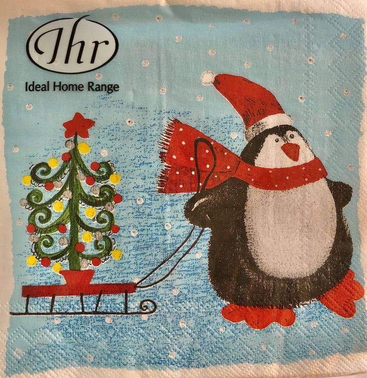 Penguin Sleighride Christmas Cocktail Napkins