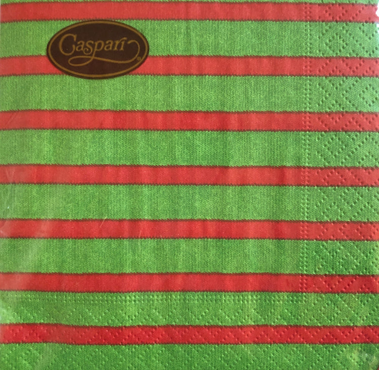 Red and Green Striped Cocktail Napkins