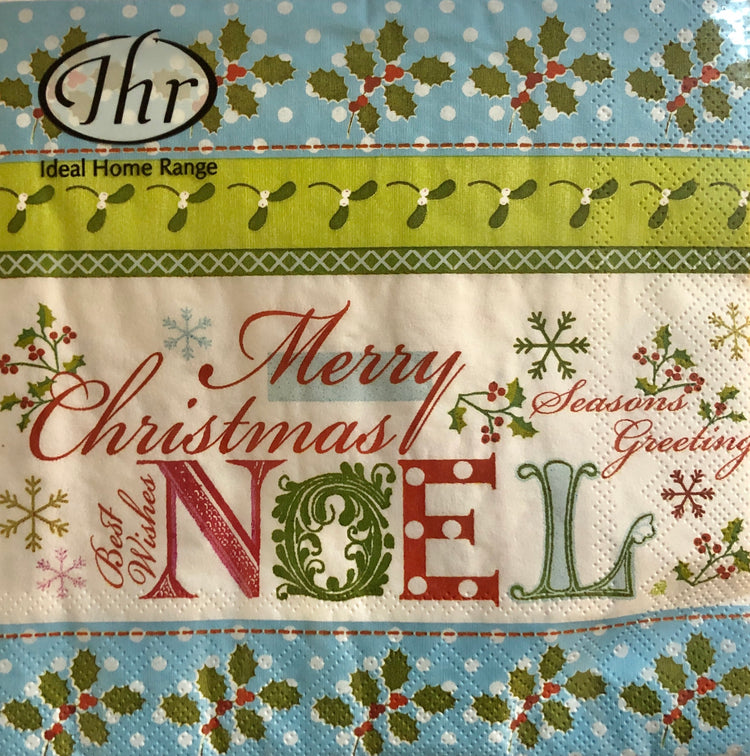 Light Blue Noel Christmas Luncheon Napkins
