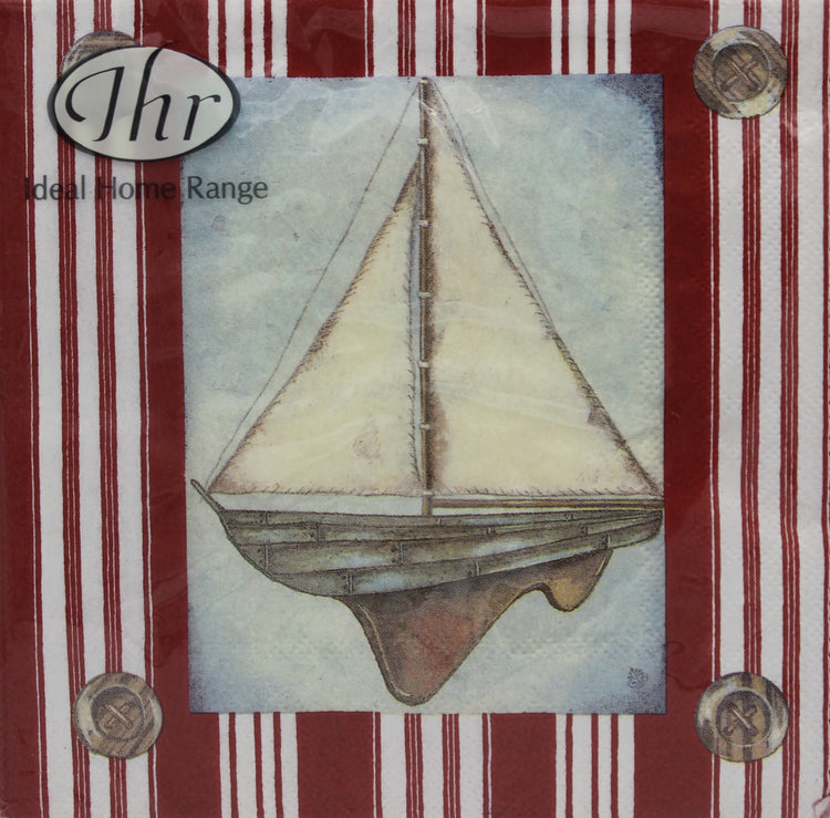 Sailboat Red and White Striped Napkins