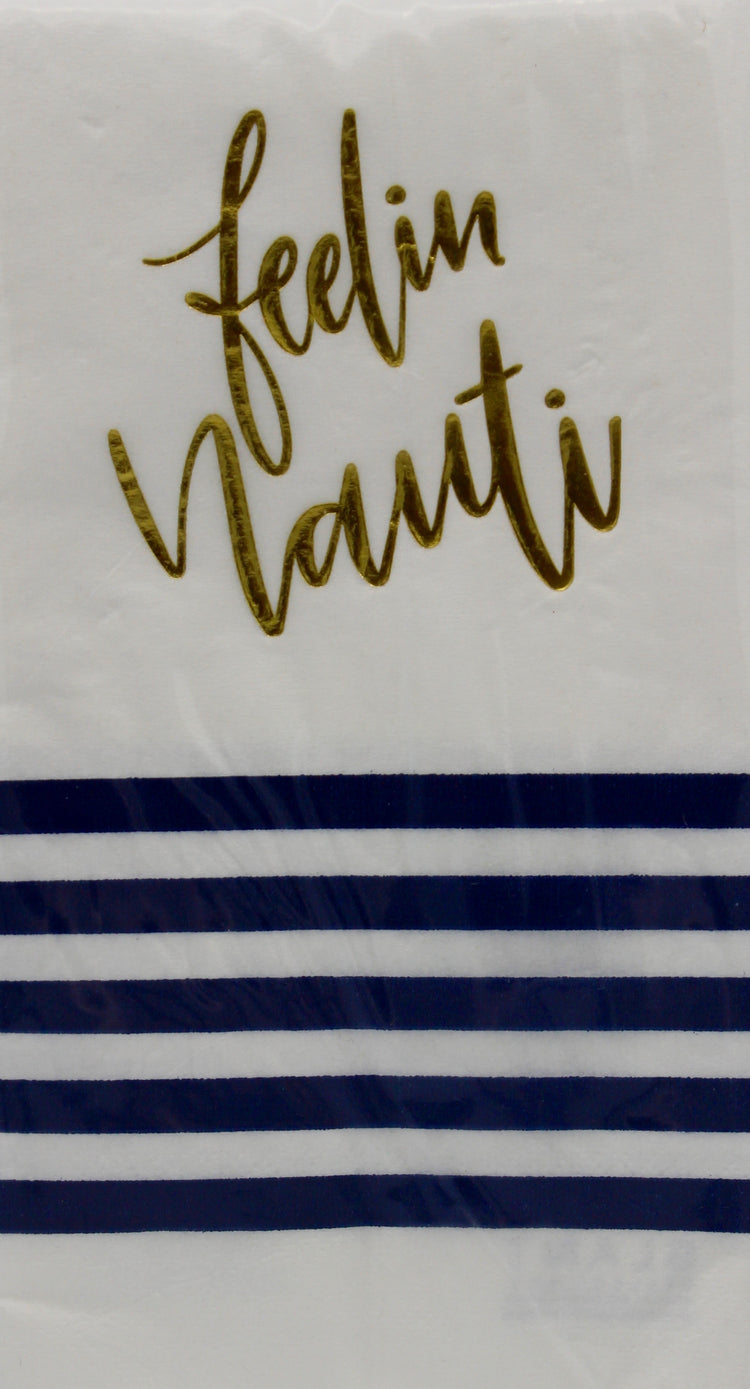 """Feelin Nauti"" White with Blue striped Guest Napkins"