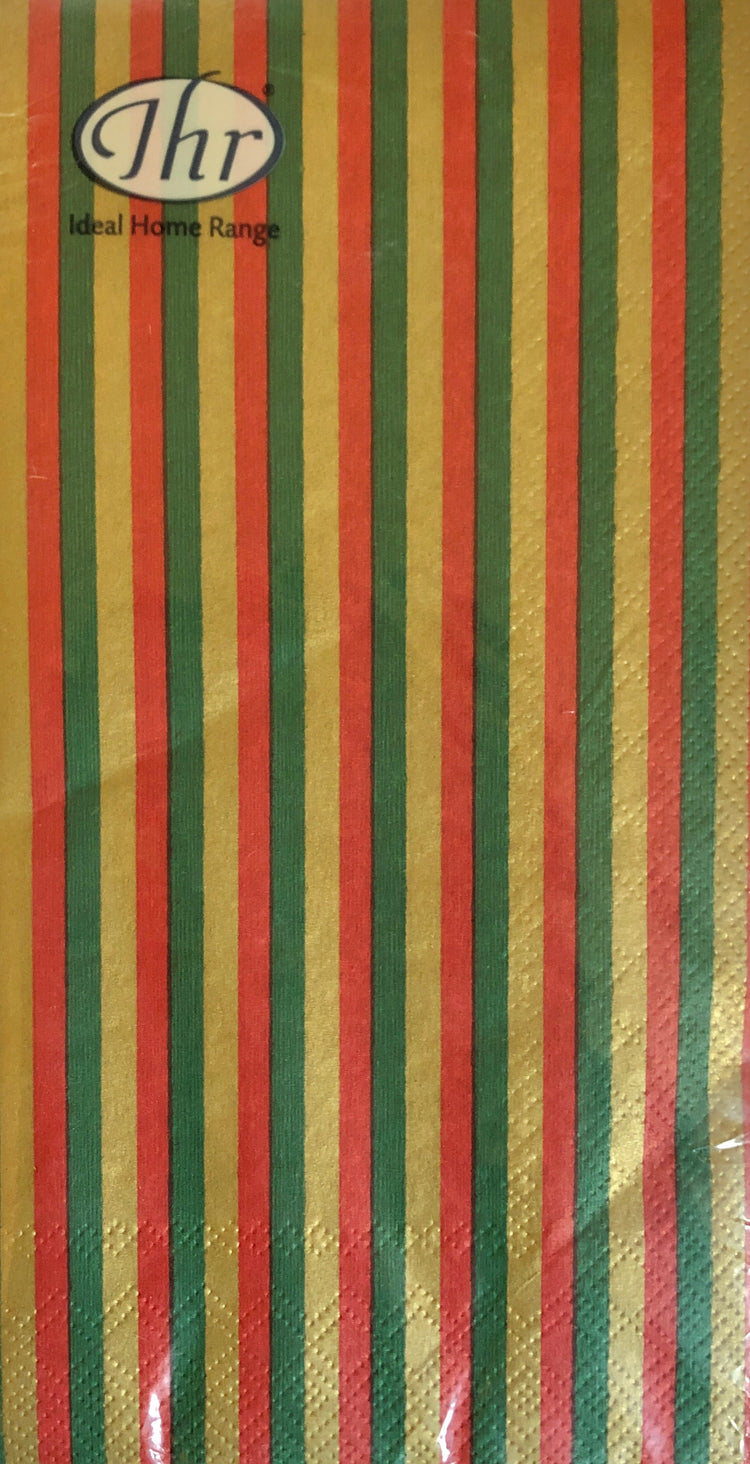 Gold, Red and Green Striped Guest Towels