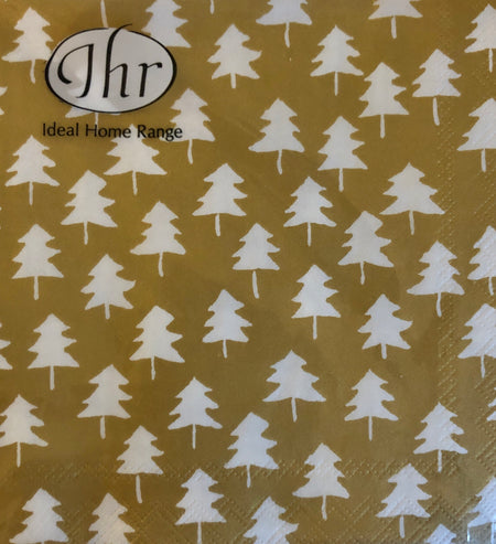 Gold and White Christmas Tree Cocktail Napkins