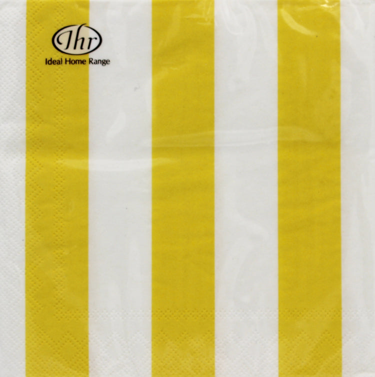 Striped Yellow Cocktail Napkins
