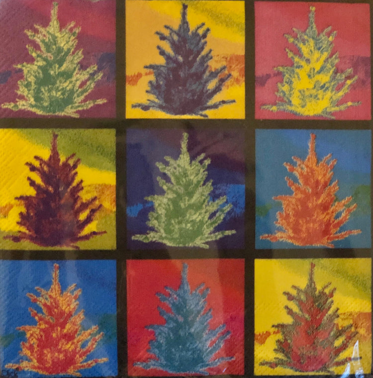 Colorful Happy Trees Cocktail Napkins