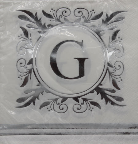 Monogram Silver and White Cocktail Napkins - G