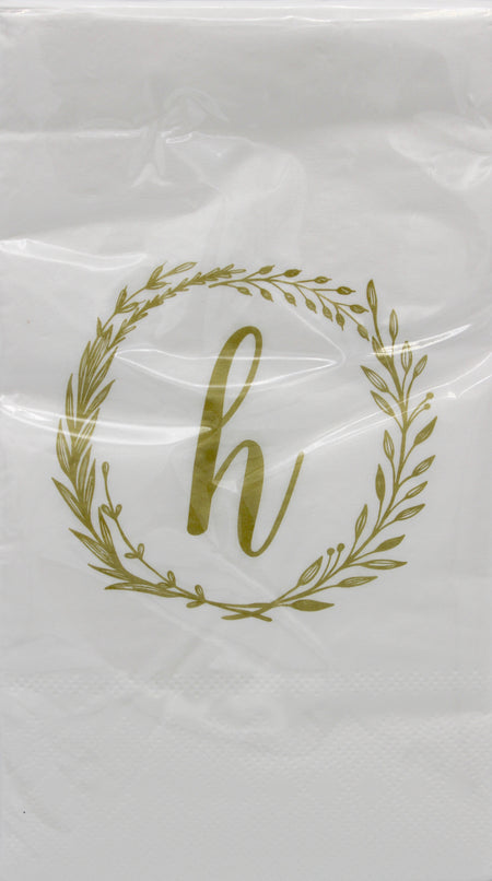 Monogram Gold and White Guest Napkins - h