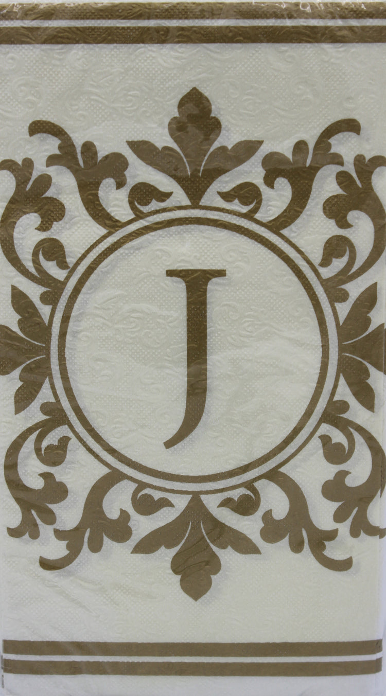 Monogram Gold and Cream Guest Napkins - J