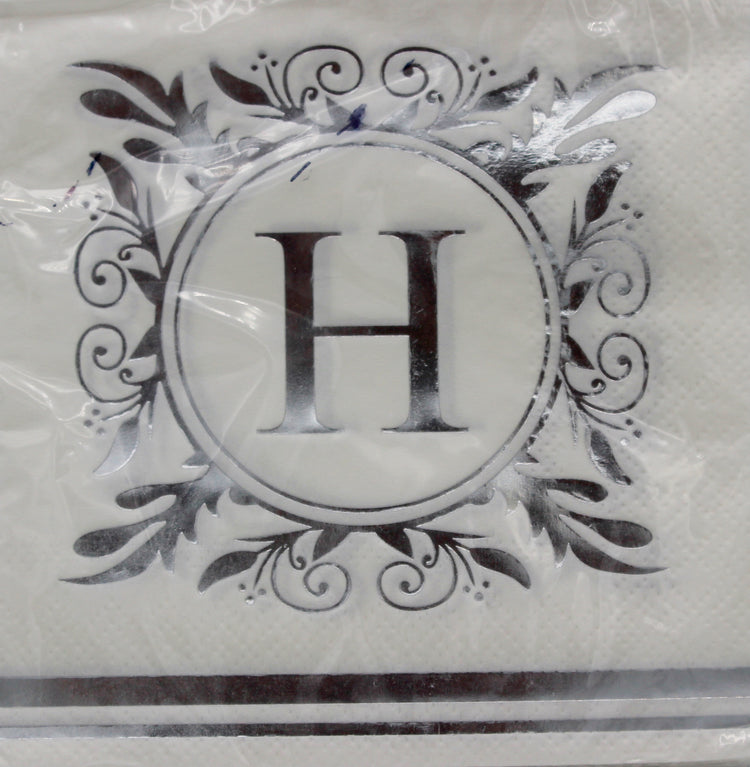 Monogram Silver and White Cocktail Napkins - H