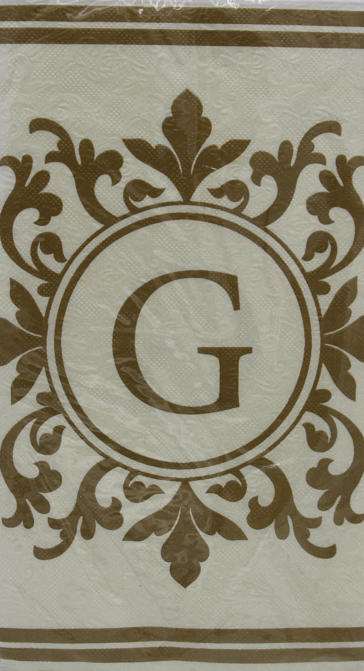 Monogram Gold and Cream Guest Napkins - G