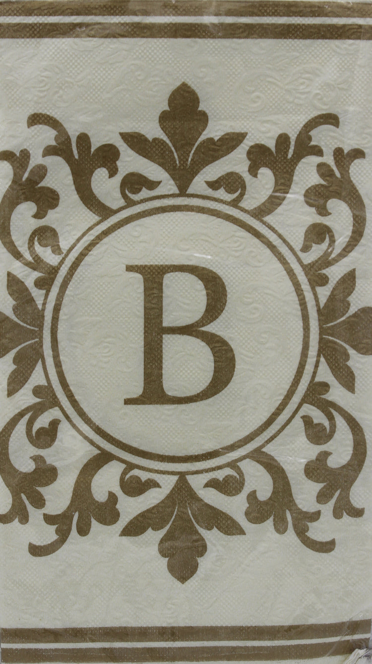 Monogram Gold and Cream Guest Napkins - B