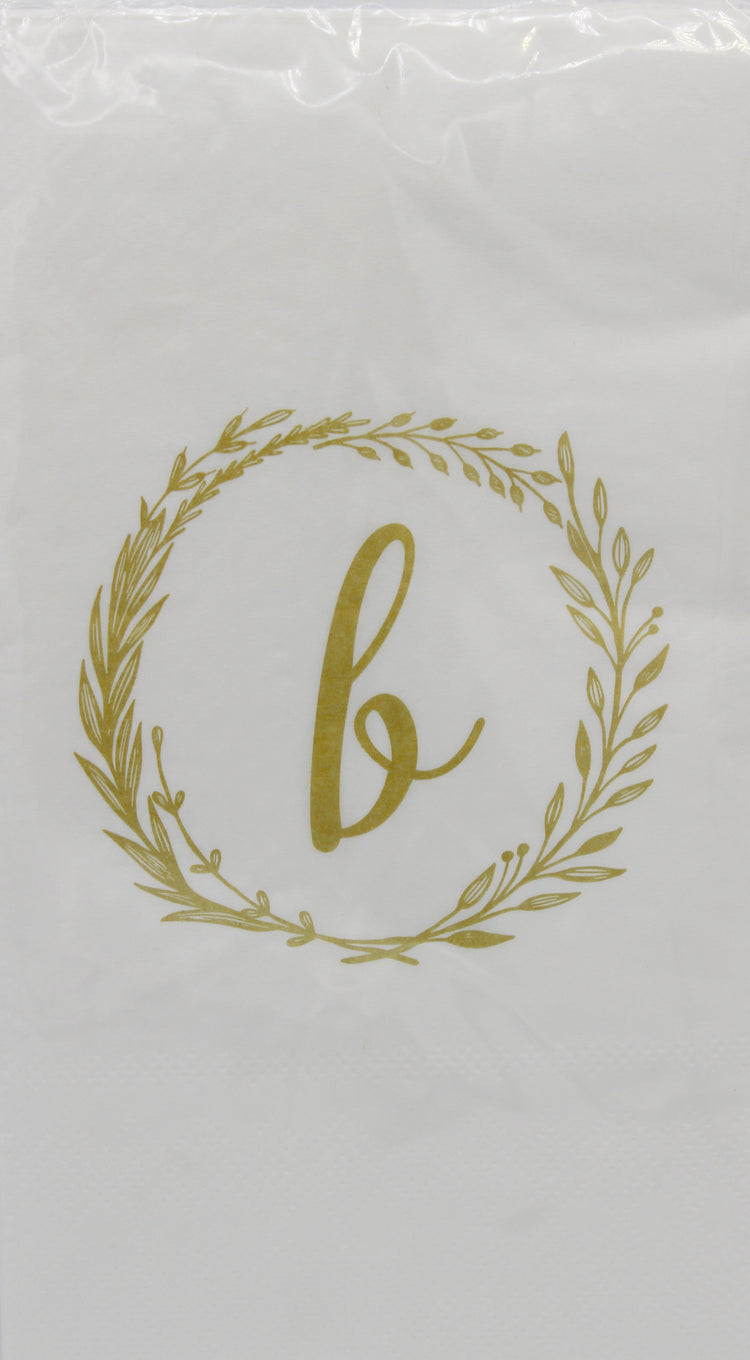Monogram Gold and White Guest Napkins - b