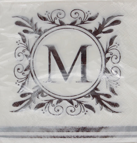 Monogram Silver and White Cocktail Napkins - M