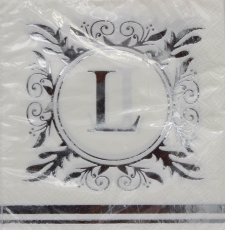 Monogram Silver and White Cocktail Napkins - L