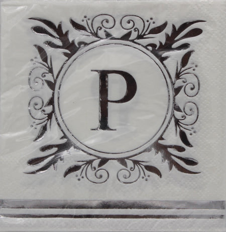 Monogram Silver and White Cocktail Napkins - P