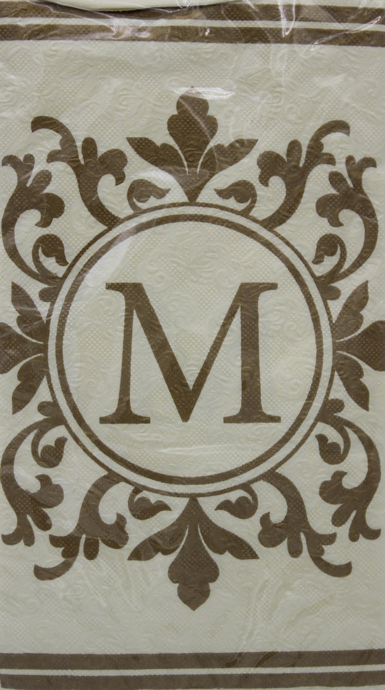 Monogram Gold and Cream Guest Napkins - M